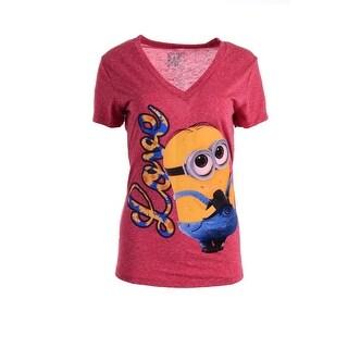 Despicable Me Womens Juniors V-Neck Graphic T-Shirt - L