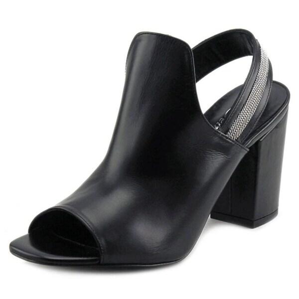 Delman Alexa Women Open-Toe Leather Black Slingback Heel