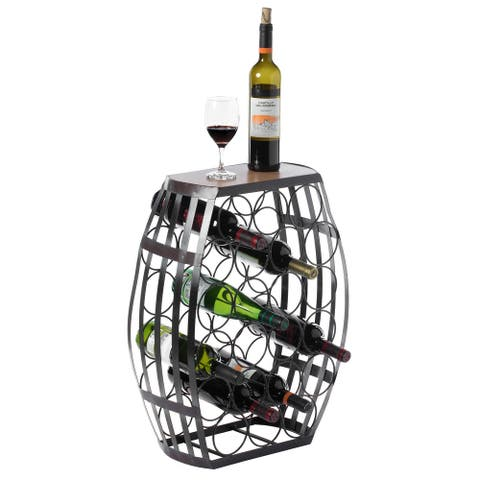 Barrel Shaped 22 Bottles Decorative Table Wine Rack Storage