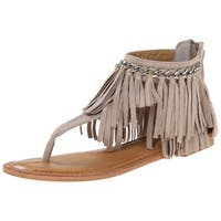 Not Rated Womens Keep The Peace Fabric Split Toe Casual T-Strap Sandals