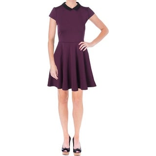 Aqua Womens Contrast Collar Cap Sleeves Wear to Work Dress