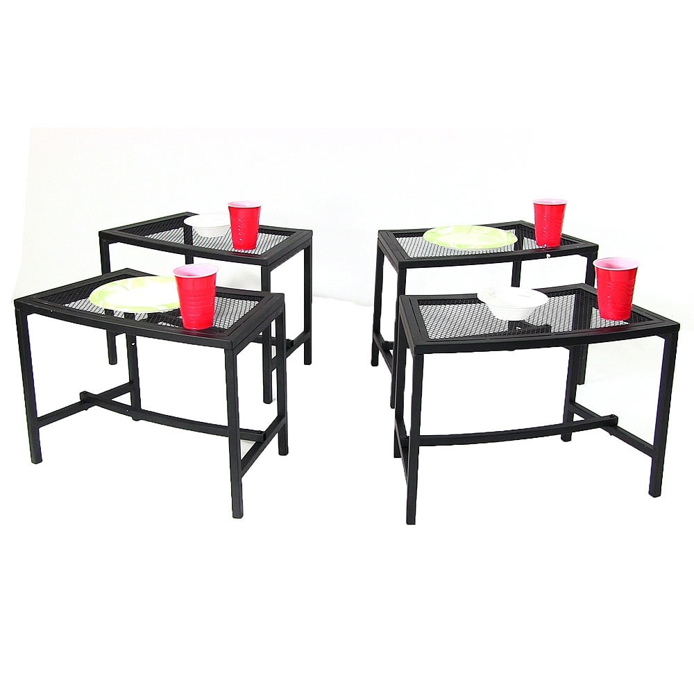 Sunnydaze Black Mesh Patio Side Table - Multiple Quantities Available - Thumbnail 8