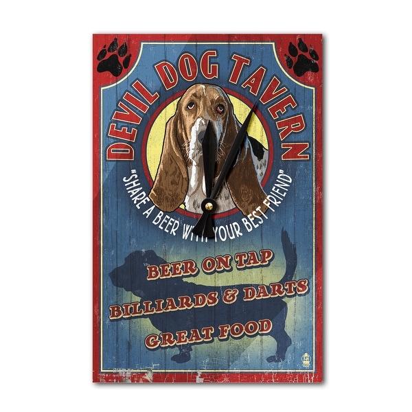 Devil Dog Tavern Vintage Sign Basset - LP Artwork (Acrylic Wall Clock) - acrylic wall clock