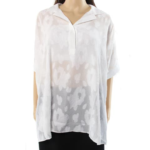 Alfani Womens Large Sheer Collared Textured Blouse