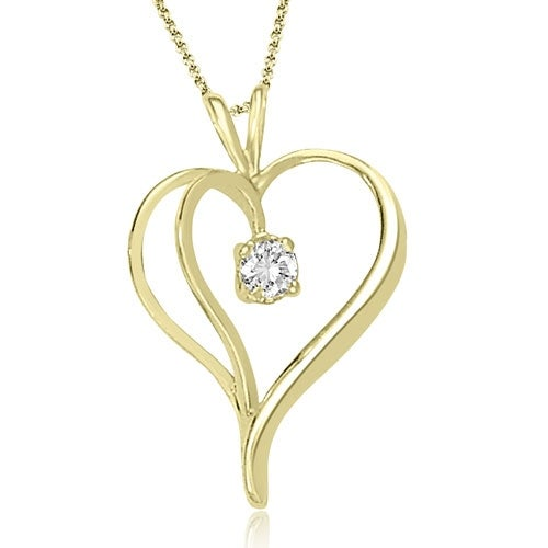 0.30 cttw. 14K Yellow Gold Round Cut Diamond Heart Shape Solitaire Pendant