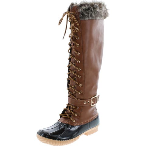 Nature Breeze Duck-10 Women's Knee High Lace Up Insulated Boots