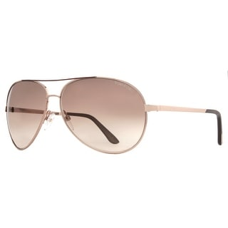 TOM FORD Aviator Charles TF35 Unisex 772 Rose Gold Brown Gradient Sunglasses - Rose Gold - 62mm-12mm-130mm