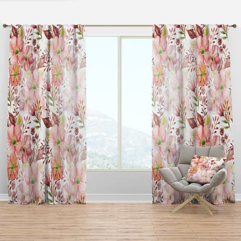 Designart 'Floral Botanical Retro III' Mid-Century Modern Curtain Panel