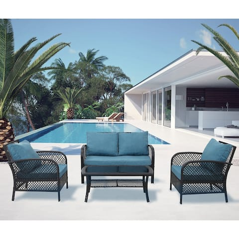 Outdoor 4 Piece Wicker Patio Furniture Sofa Conversation Set with Cushions