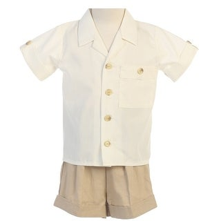 Little Boys Khaki White Poly Cotton Shirt Rayon Linen Shorts Set