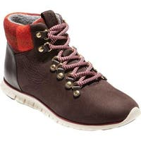 Cole Haan Women's ZEROGRAND Hiker Boot Java Nubuck/Red Plaid Wool/Optic White