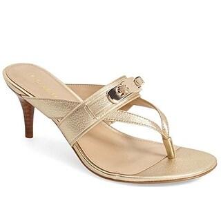 COACH Women's Olina Platinum Turnlock Thong Dress Sandals