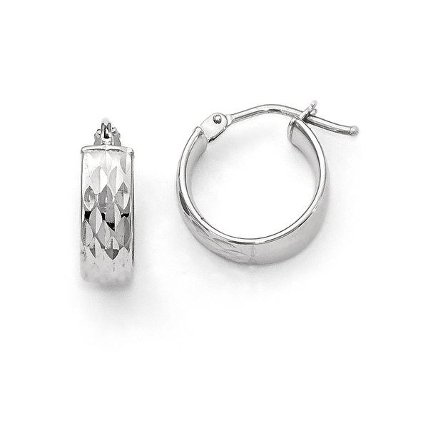 Italian 14k White Gold Polished and Diamond Cut Hoop Earrings