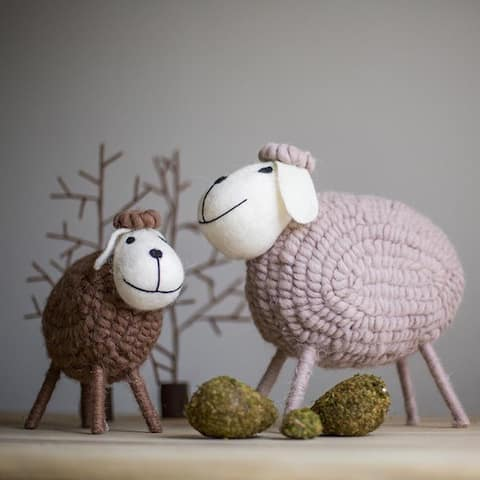 RusticReach Handmade Wool Sheep Knick-Knack Small Set of 3