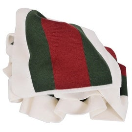 Gucci 206086 Wool Silk WHITE Red Green Web Stripe Scarf Muffler