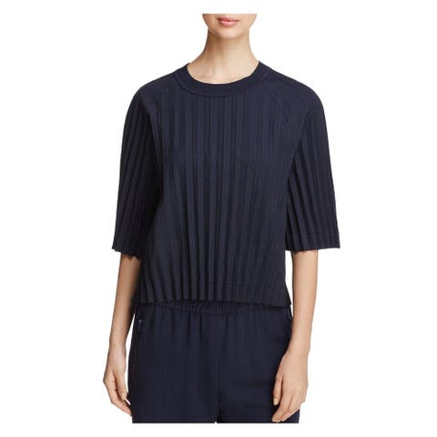 DKNY Womens Navy Pleated Pinstripe 3/4 Sleeve Jewel Neck Top Size M