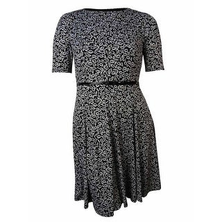Jessica Howard Women's Belted Leaf Print Flared Jersey Dress - 6