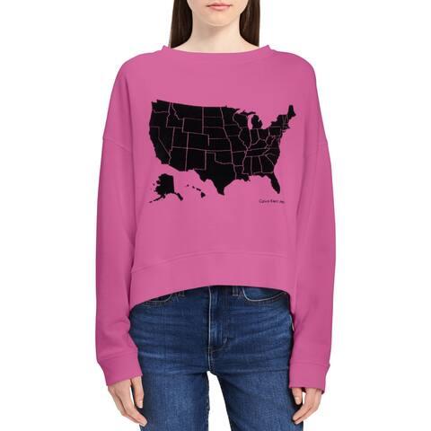Calvin Klein Jeans Womens Sweatshirt, Crew Hi-Low Velvet - M