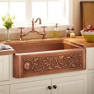 """Signature Hardware 318918 32-3/4"""" Vine Design Farmhouse Single Basin Copper Kitc"""
