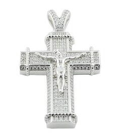 Silver Crucifix Pendant 36mm Tall With CZ By MidwestJewellery