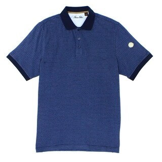 Tasso Elba NEW Blue Totem Mens Size Large L Houndstooth Polo Shirt