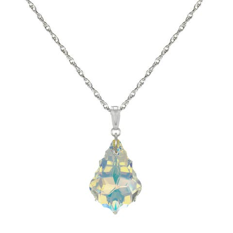 Handmade Jewelry by Dawn Sterling Silver Crystal Aurora Borealis Baroque Rope Chain Necklace 18 inch (USA)