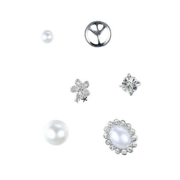 739faf0e1 Shop Peace Rhinestone & Pearl - Assorted Stud Earrings Set, By JADA  Collections - Free Shipping On Orders Over $45 - Overstock - 21483105