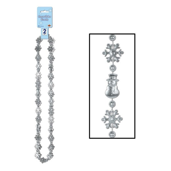 Club Pack of 12 Winter Wonderland Themed Silver Snowflake Beaded Necklaces 36""