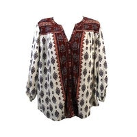 b1aad894 Shop Style & Co Plus Size Red Cream Mixed-Print Button-Down Shirt 0X ...