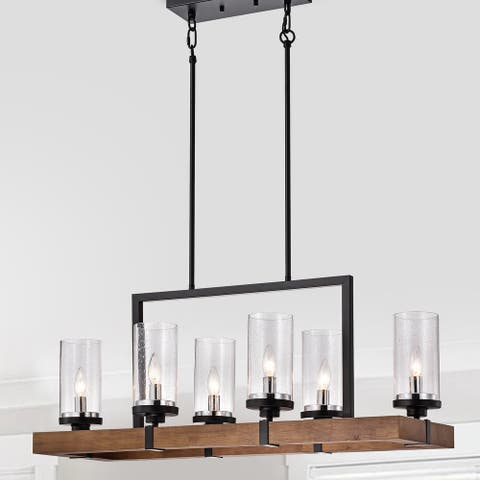 The Gray Barn Sonoma Wood and Metal 6-light Linear Chandelier with Seeded Glass Shades