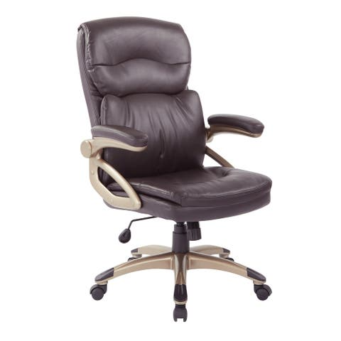 Excutive High-Back Espresso Bonded Leather Chair with Cocoa Accents