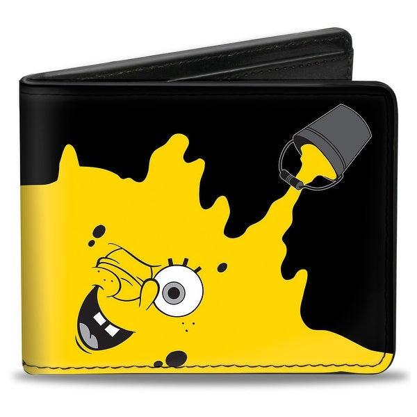 SpongeBob Paint Bucket Black Yellow Bi Fold Wallet - One Size Fits most