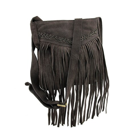 Genuine Suede Leather Fringed Shoulder Bag w/Braid Accent