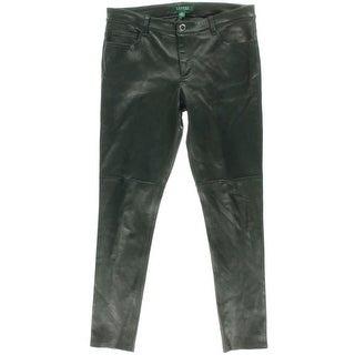 Lauren Ralph Lauren Womens Solid Flat Front Leather Pants