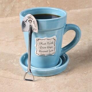 Inspirational Flowerpot Coffee Mug - Plant Faith, Grow Hope, Harvest Love - Includes Spade-Shaped Spoon