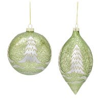"""Club Pack of 12 Distressed Green Round Glass Ball and Finial Christmas Ornaments 6.5"""" - GOLD"""