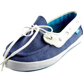 Vans Chauffette Women Round Toe Canvas Blue Loafer