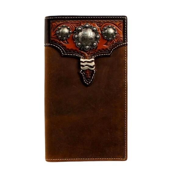 Nocona Western Wallet Mens Leather Rodeo Medium Brown