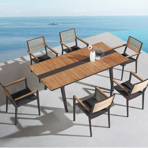 Higold - Champion Patio Dining Set, 7 Pieces Outdoor Dining Chairs with Teak Solid Wood Tabletop, Matte Charcoal Aluminum Frame
