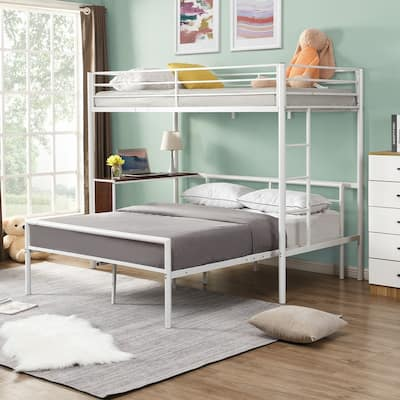 Twin over Full Bunk Bed with Built-in Desk&Separate Full Platform Bed
