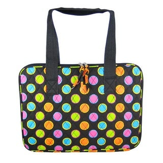 Quilted Neon Polka Dot Print Laptop Sleeve Carry Case