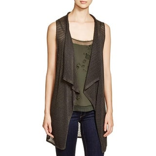 Elie Tahari Womens Juno Sweater Vest Eyelet Sleeveless