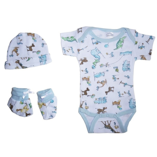 b9b5f9551 Bambini Baby Boys Blue Printed Cotton Lap Bodysuit Cap Booties 3-Pc Gift  Set - One Size