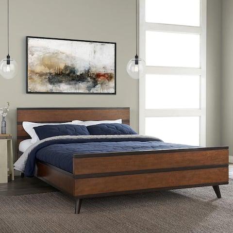Mid-Century Wood Platform Queen Bed