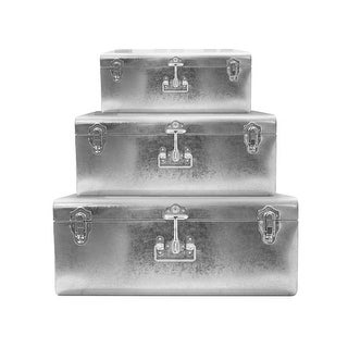Silver Galvanized Metal Trunks Set of 3 - Vintage Style Storage Space Saving Organizer Home Dorm & Office Use