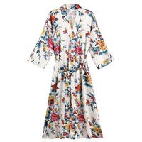 Women's Floral Satin Robe - Ladies Luxurious Bathrobe