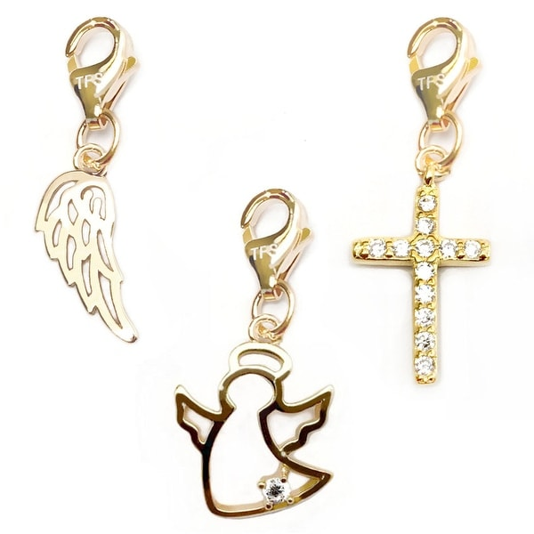 Julieta Jewelry Angel, Angel Wing, Cross 14k Gold Over Sterling Silver Clip-On Charm Set