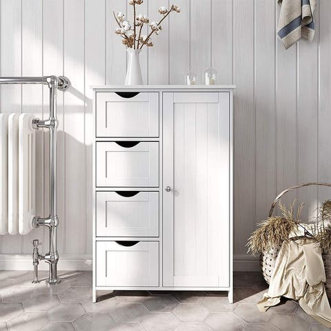 White Bathroom Storage Cabinet with Adjustable Shelf and Drawers