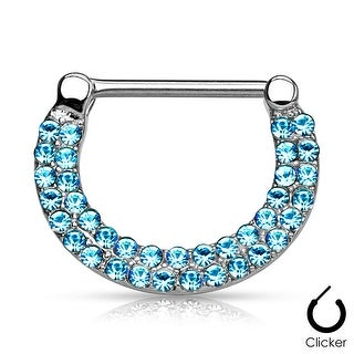 Double Lined Crystals Pave Surgical Steel Nipple Clicker (Sold Ind.)