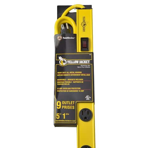Yellow Jacket 5153 Workshop 9-Outlet Metal Bar Power Strip with 5' Cord, 36""